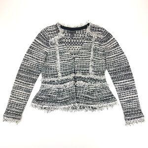 INC Boucle Fringe Peplum Jacket Women's Large EUC
